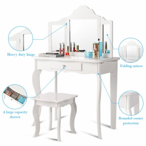 Costway Vanity Table Set Makeup Dressing Table Stool with mirror Perspective: bottom