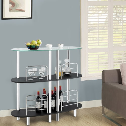 Costway Bar Table Wine Storage Home Liquor Pub Table w/Tempered Glass Top & 2 Shelves Perspective: bottom