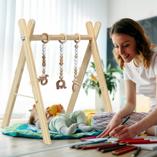 Foldable Wooden Baby Gym with 3 Wooden Baby Teething Toys Hanging Bar Natural Perspective: bottom