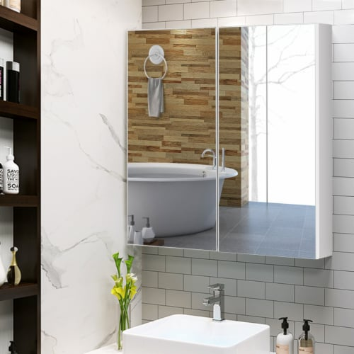 Costway Bathroom Cabinet Medicine Cabinet Wall Mount Double Door with Shelf and Mirror Perspective: bottom