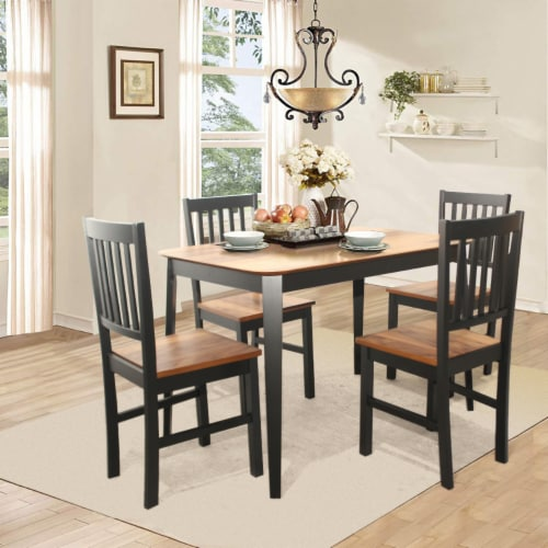 Set of 4 Dining Chair Kitchen Black Spindle Back Side Chair with Solid Wooden Legs Perspective: bottom