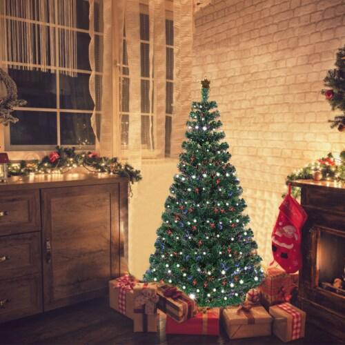 Costway Fiber Optic Pre-Lit Christmas Tree 180 Lights Top Star 5ft Perspective: bottom