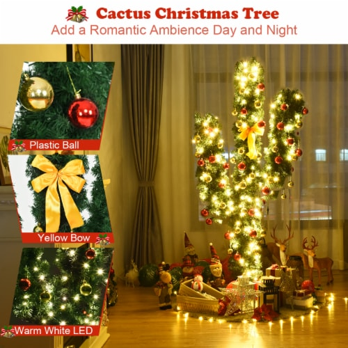 Costway Pre-Lit Cactus Christmas Tree 7Ft LED Lights Ball Ornaments Perspective: bottom