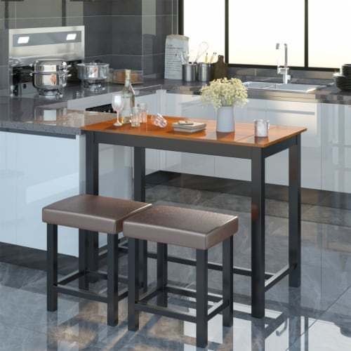 Costway 3 Piece Pub Table Set Counter Height Kitchen Breakfast Bar Dining Table W/Stools Perspective: bottom