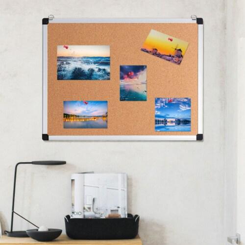 Costway 3 Pack Cork Bulletin Board 24'' x 18'' Wall Mounted Notice Board w/Aluminium Frame Perspective: bottom