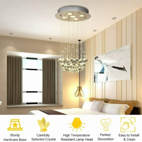 Crystal Chandelier Flush Mount Modern Pendant Lamp with Shiny Crystal Balls Perspective: bottom