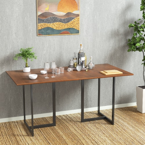 Costway 60'' Console Dining Table Rectangular Kitchen Table w/ Metal Frame and Wood Top Perspective: bottom