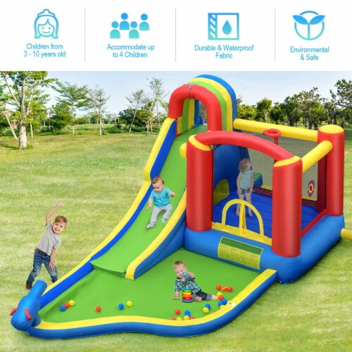 Costway Inflatable Kid Bounce House Slide Climbing Splash Pool Jumping Castle Perspective: bottom