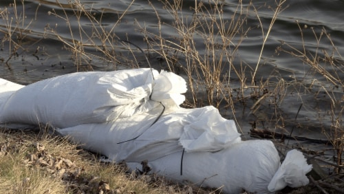 Halsted White Woven Sand Bags with Tie String Perspective: bottom