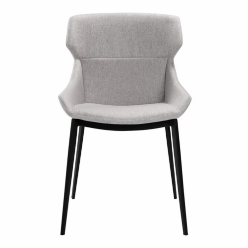 Kenna Dining Chair in Matte Black Finish and Gray Fabric - Set of 2 Perspective: bottom