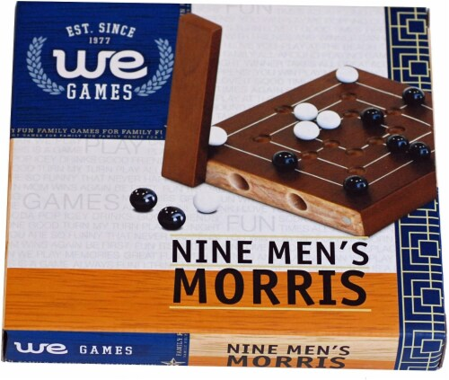 WE Games Nine Men's Morris Wooden Travel Game with Marbles - 5 inch Travel Size Perspective: bottom