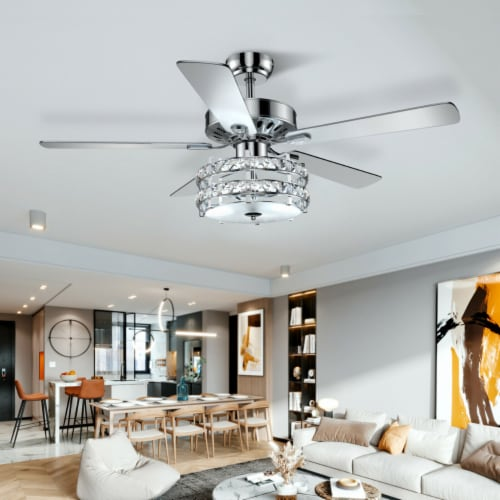 Gymax 52'' Classical Crystal Ceiling Fan Lamp w/ Reversible Blades Remote Control Home Perspective: bottom
