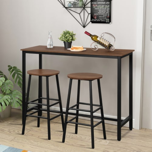 Costway 3 Piece Bar Table Set Pub Table and 2 Stools Counter Kitchen Dining Set Brown Perspective: bottom