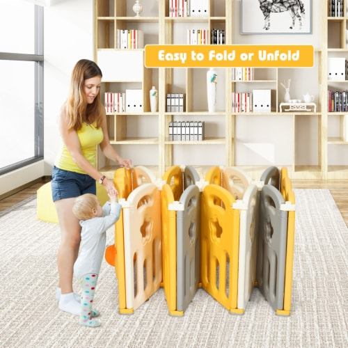 Costway 14-Panel Foldable Baby Playpen Kids Yellow Duck Yard Activity Center w/ Sound Perspective: bottom