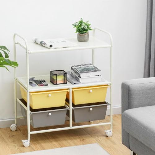 Costway Rolling Storage Cart w/4 Drawers 2 Shelves Metal Rack Shelf Utility Organizer Perspective: bottom