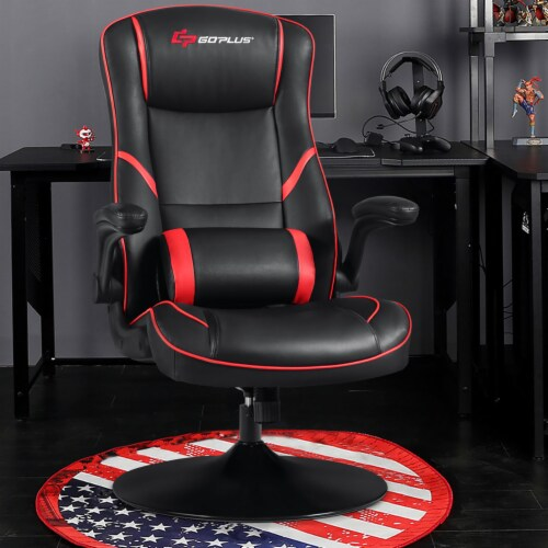 Goplus Gaming Rocker Chair Racing Style Swivel Computer Office Chair w/Flip Up Armrests Perspective: bottom