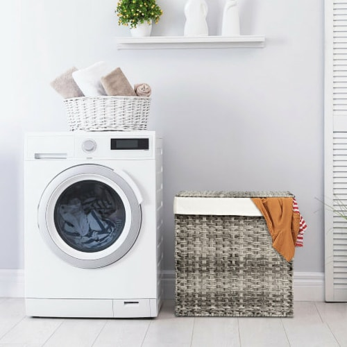 Gymax Hand-woven Laundry Basket Foldable Rattan Laundry Hamper W/Removable Bag Grey Perspective: bottom