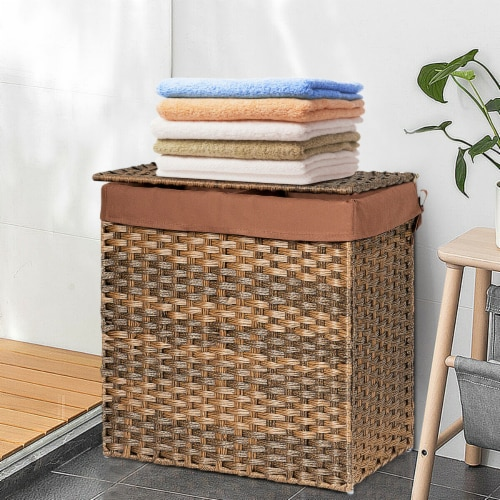 Gymax Hand-woven Laundry Basket Foldable Rattan Laundry Hamper W/Removable Bag Brown Perspective: bottom