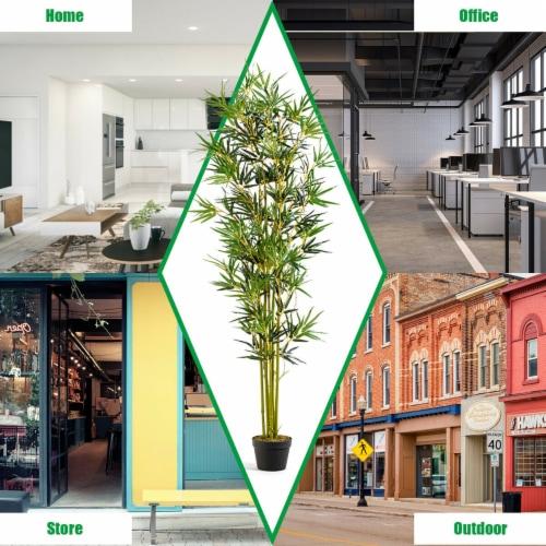 Costway 6 ft Artificial Bamboo Silk Tree Indoor Outdoor Home Office Decorative Planter Perspective: bottom