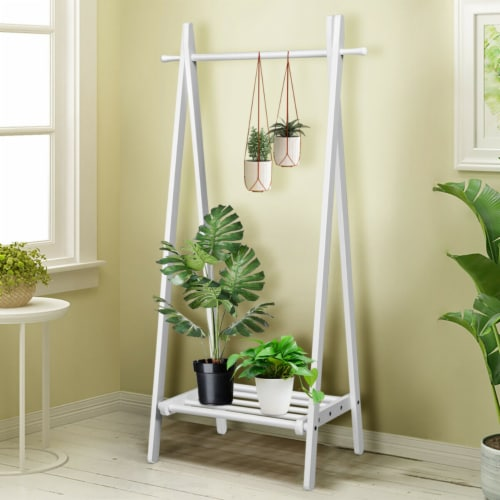 Gymax A-Frame Wood Garment Rack Clothing Hanging Rack w/Storage Shelf Entryway Bedroom Perspective: bottom