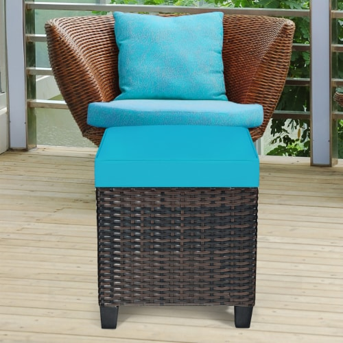 Costway 2PCS Patio Rattan Ottoman Cushioned Seat Foot Rest Coffee Table Turquoise Perspective: bottom