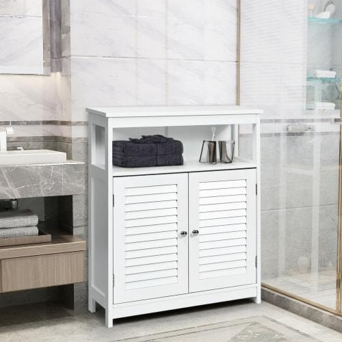 Costway Bathroom Wood Storage Cabinet w/ Double Shutter Door Perspective: bottom