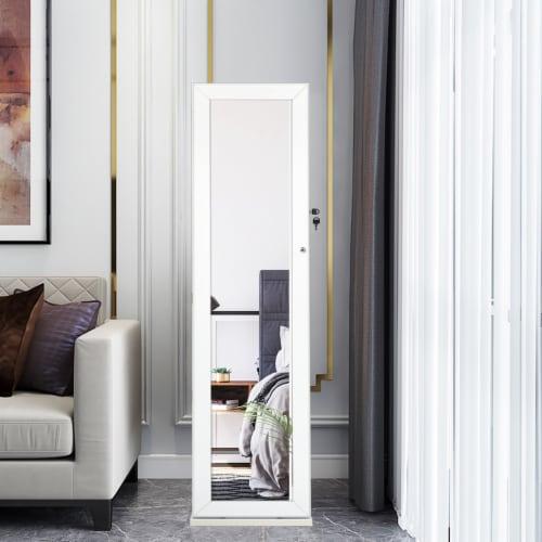 Costway Mirrored Jewelry Cabinet Lockable Standing Storage Organizer W/ Shelf Perspective: bottom