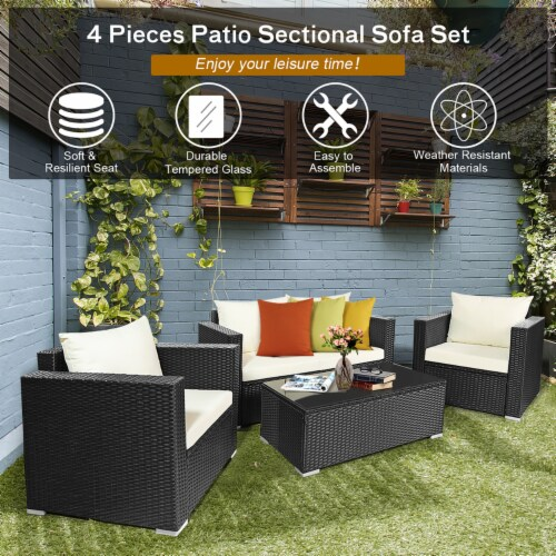 Costway 4PCS Patio Rattan Furniture Set Cushioned Sofa Chair Coffee Table Off White Perspective: bottom