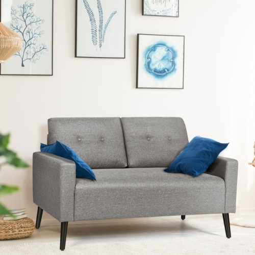 Costway Modern Loveseat Sofa 55'' Upholstered Chair Couch with Soft Cloth Cushion Grey Perspective: bottom