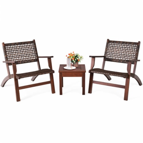 Gymax 3PCS Rattan Patio Chair & Table Set Outdoor Furniture Set w/ Wooden Frame Perspective: bottom