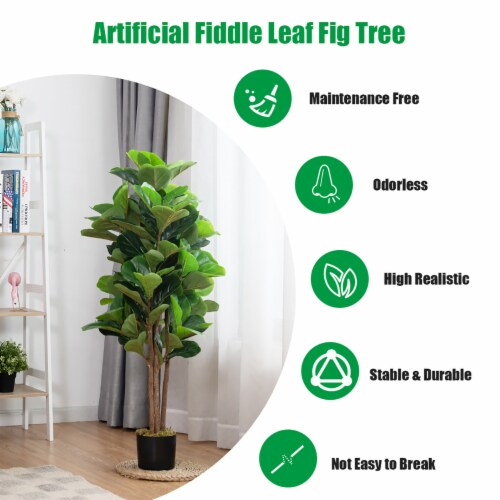 Costway 4ft Artificial Fiddle Leaf Fig Tree Indoor Outdoor Office Decorative Planter Perspective: bottom