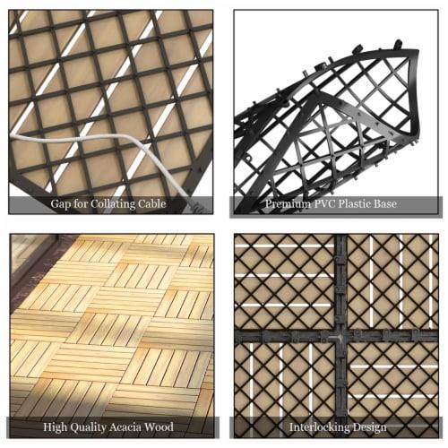 Costway 10PCS 12'' x 12'' Acacia Wood Deck Tiles Interlocking Patio Pavers Stripe Pattern Perspective: bottom