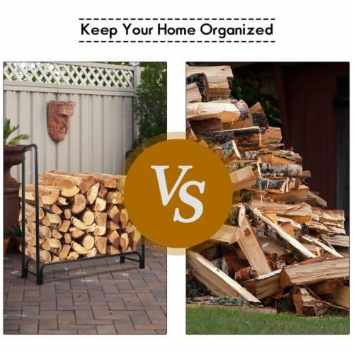 Costway 4 Feet Outdoor Steel Firewood Log Rack Wood Storage Holder for Fireplace Black Perspective: bottom