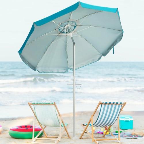 Costway 6.5FT Patio Beach Umbrella Sun Shade Tilt W/Carry Bag Blue Perspective: bottom