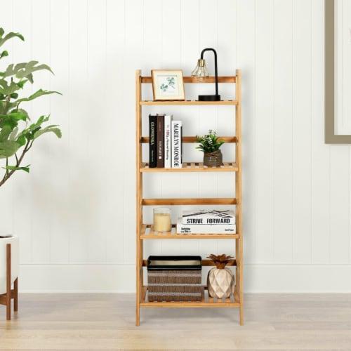 Gymax 4-Tier Bamboo Ladder Shelf Multipurpose Plant Display Stand Storage Bookshelf Perspective: bottom