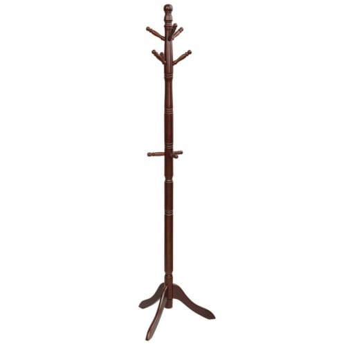 Gymax Wooden Coat Rack Hanger Hall Tree Entryway w/ 9 Hooks 2 Heights Walnut Perspective: bottom