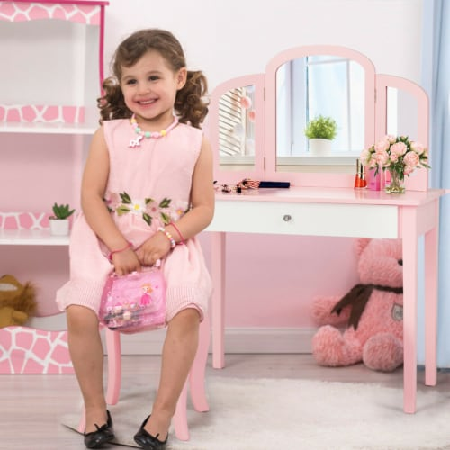 Gymax Kids Vanity Princess Make Up Dressing Table W/ Tri-folding Mirror & Chair Pink Perspective: bottom