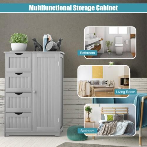 Costway Wooden 4 Drawer Bathroom Cabinet Storage Cupboard 2 Shelves Free Standing Perspective: bottom