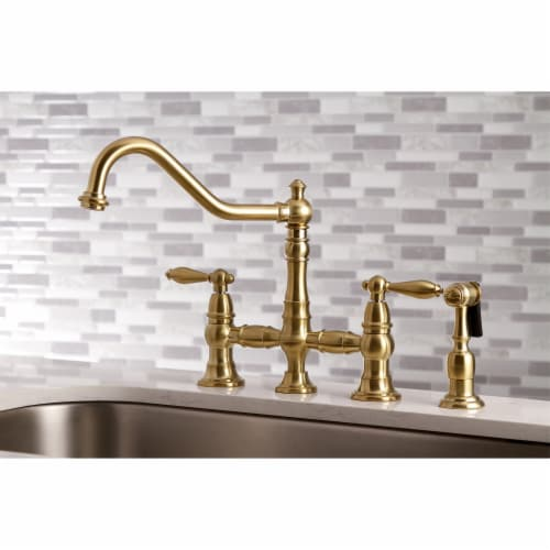 Kingston Brass KS3277ALBS Kitchen Faucet with Side Sprayer, Brushed Brass Perspective: bottom