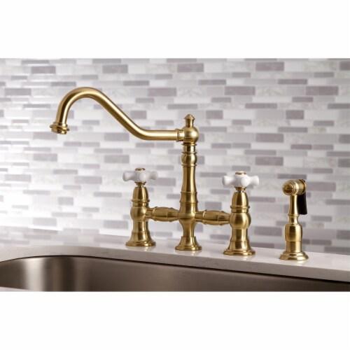 KS3277PXBS Restoration 8-Inch Bridge Kitchen Faucet with Sprayer, Brushed Brass Perspective: bottom