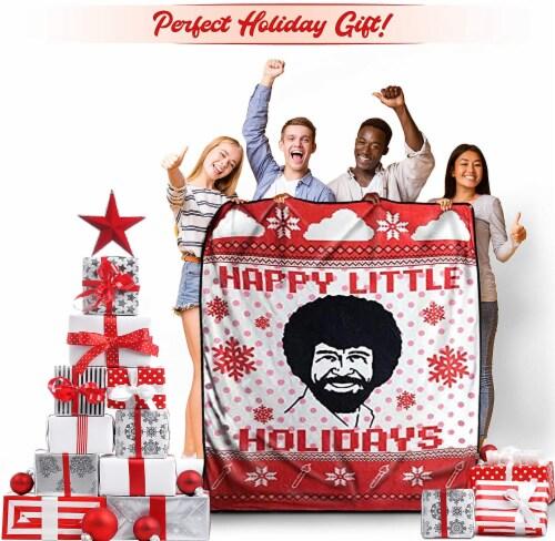 Bob Ross Happy Little Holidays Fleece Softest Throw Blanket Perspective: bottom
