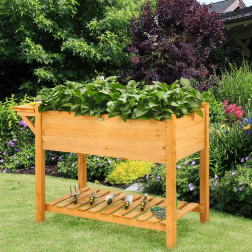 Gymax Raised Garden Bed Elevated Planter Box Kit w/8 Grids & Folding Tabletop Perspective: bottom