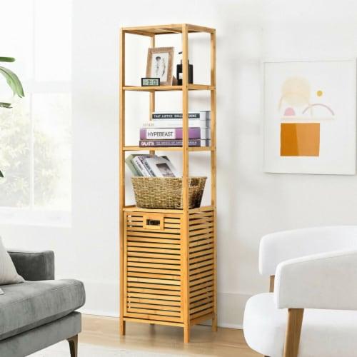 Gymax Bathroom Tilt-out Laundry Hamper Bamboo Tower Hamper w/3-Tier Shelves Perspective: bottom