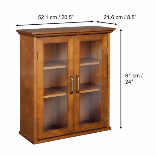 Elegant Home Fashions Wooden Bathroom Wall Cabinet 2 Doors Brown Oak ELG-540 Perspective: bottom