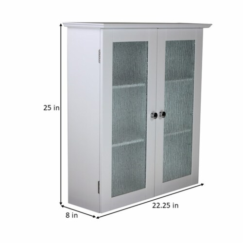Elegant Home Fashions Bathroom Wall Cabinet 2 Glass Doors White Connor ELG-581 Perspective: bottom