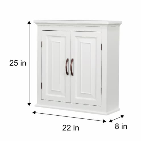 Elegant Home Fashions Wooden Bathroom Wall Cabinet 2 Door White St James ELG-590 Perspective: bottom