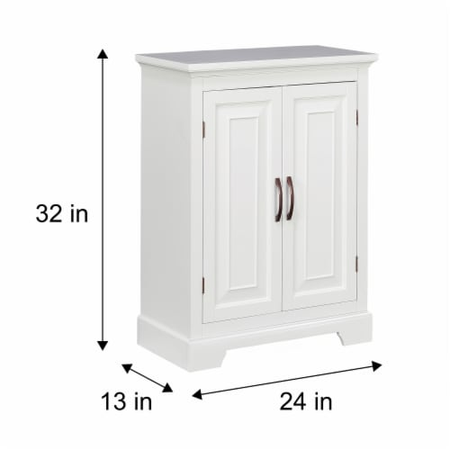 Elegant Home Fashions Wooden Bathroom Floor Cabinet 2 Door White St James ELG-591 Perspective: bottom