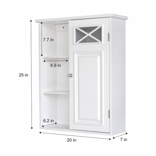 Elegant Home Fashions Dawson 1-Door Wall Cabinet in White Perspective: bottom