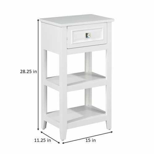 Elegant Home Fashions Wooden Bathroom Floor Cabinet With 1 Drawer White 6858 Perspective: bottom