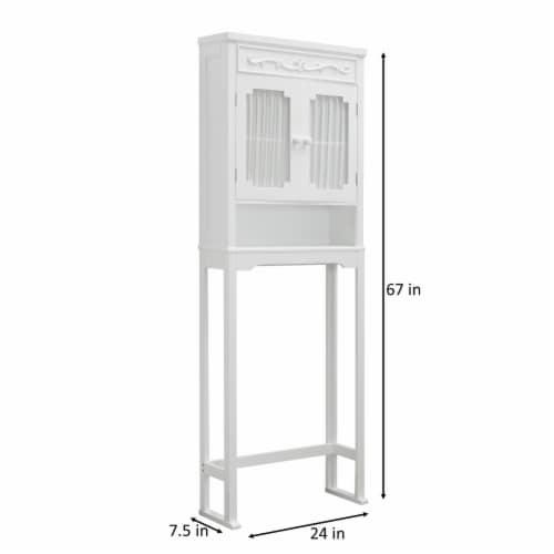 Elegant Home Fashions Bathroom Cabinet Over Toilet 2 Doors & Shelf White 7008 Perspective: bottom